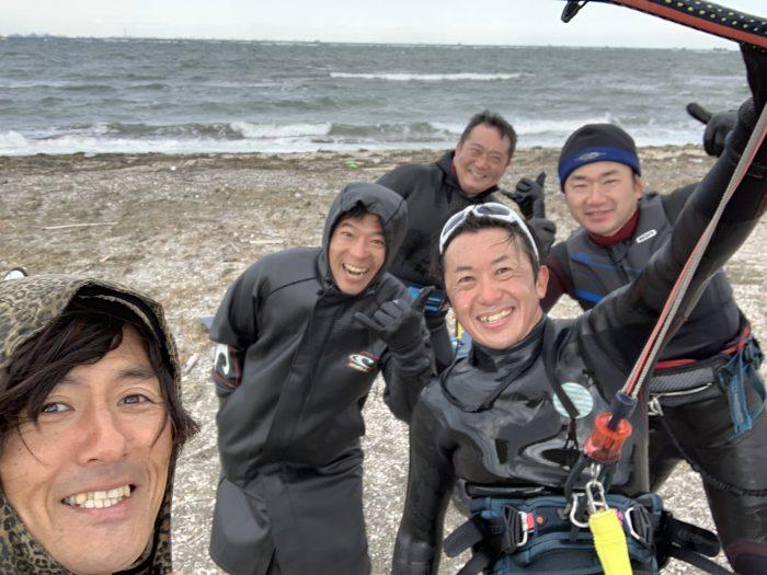 富津岬は朝から強い北風